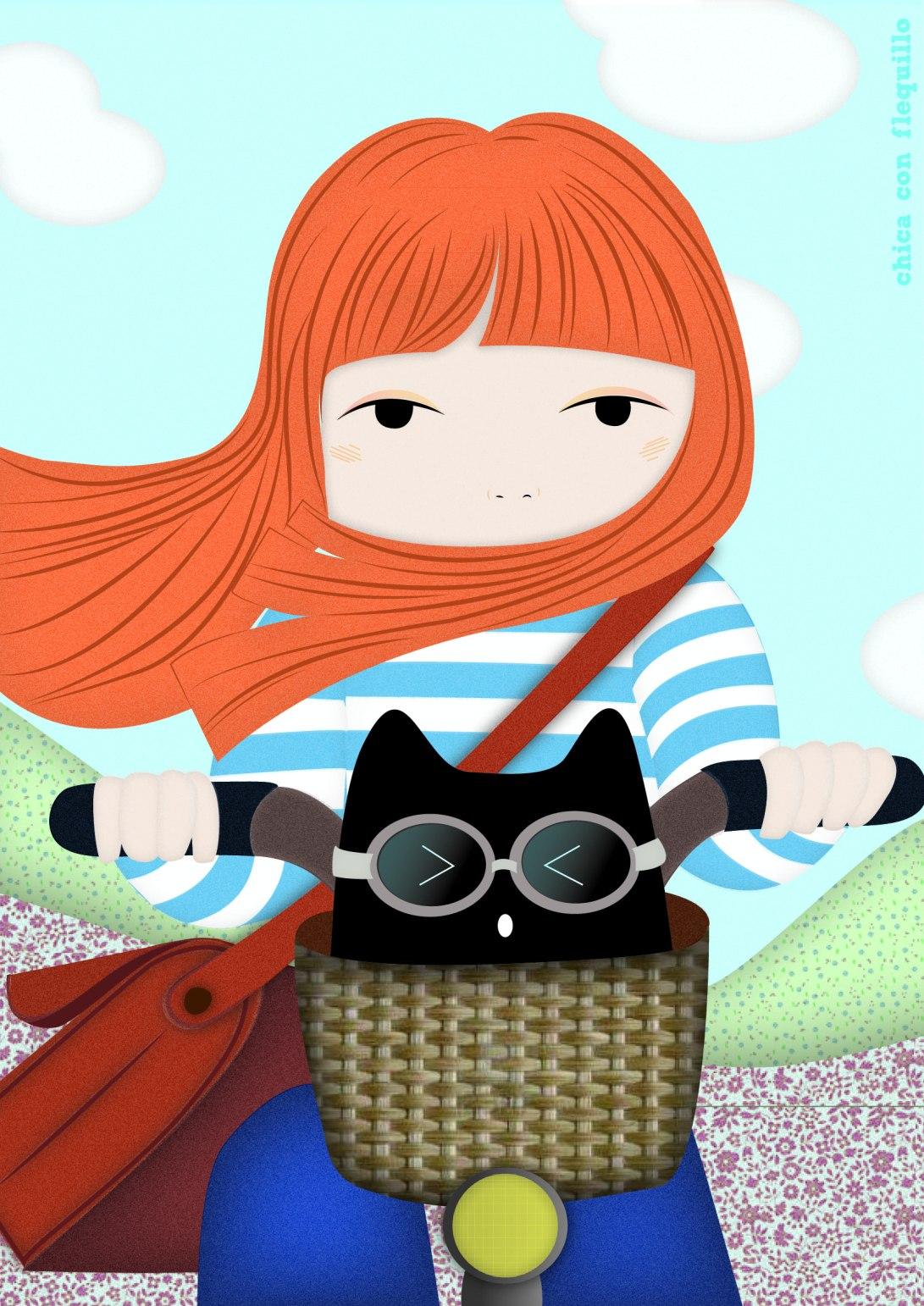 chica y gato en bici